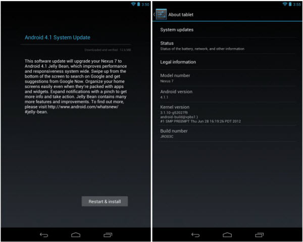 Nexus 7 Tablet Android Jellybean 4.1.1 Firmware Update Update Google ASUS Nexus 7 Tablet With Official Jellybean 4.1.1 Firmware [How To]