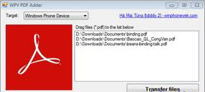 WPV PDF Adder 1.01 WPV PDF Adder 1.0 : It is a Tool to Copy PDF to Adobe Reader on Windows Phone7
