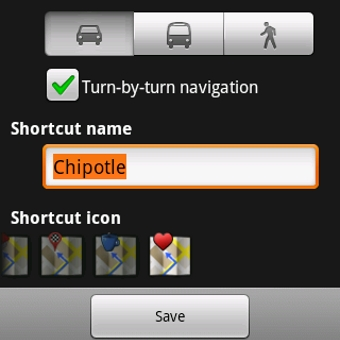 GPS Shortcut Icon - Android Home Screen