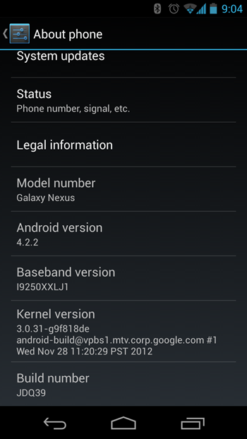 Android 4.2.2 JDQ39 Update for the GSM Galaxy Nexus