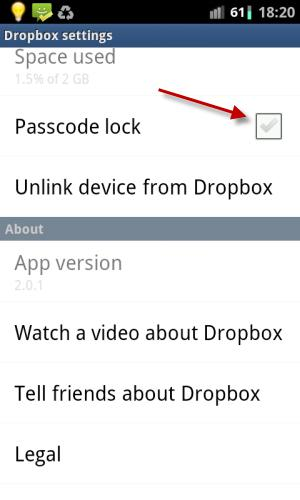 How to Set Passcode Lock on Dropbox Files in Android Smartphone