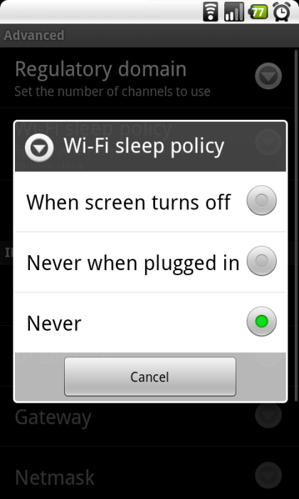 WiFi-Sleep-policy